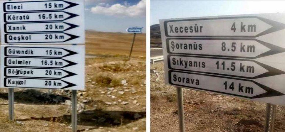 Başkale\'de Türkçe-Kürtçe yön tabelaları yenilendi