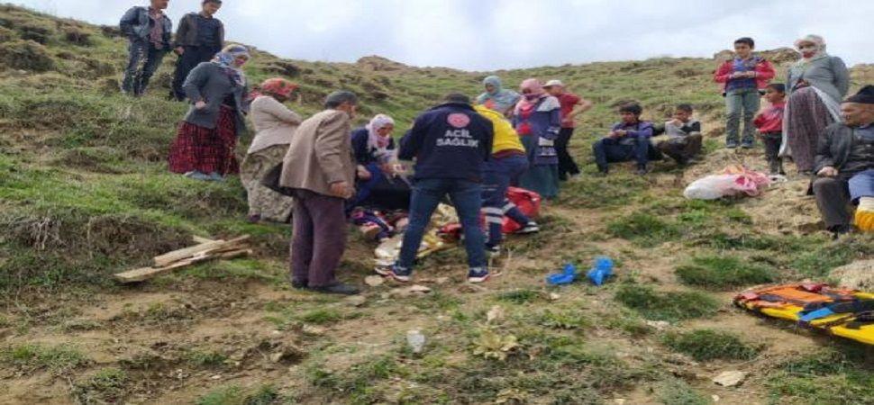 Başkale\'de pancar toplarken kayalıktan düşen kadın yaralandı